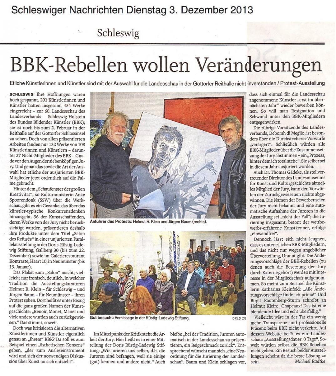 """2013 11 """"Salon des Refusés"""" die Schleswiger Nachrichten nennt und BBK-Rebellen"""