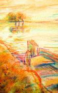 """2004 """"5 Boot"""" Blick über die Schlei - Kreide// Pastell"""