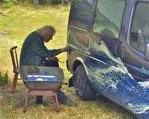 """2013 08 Motiv-Lackierung auf einem Ford-Camper: """"Wildes Wasser"""""""